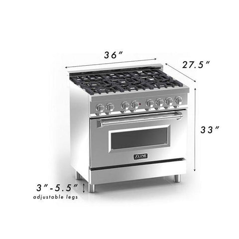 "Image of ZLINE 36"" Professional Dual Fuel Range in Stainless Steel with DuraSnow® Finish Door (RA-SN-36) - Shop For Kitchens"