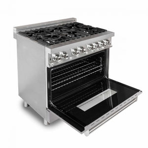 "ZLINE 36"" Professional Dual Fuel Range in Stainless Steel with DuraSnow® Finish Door (RA-SN-36) - Shop For Kitchens"