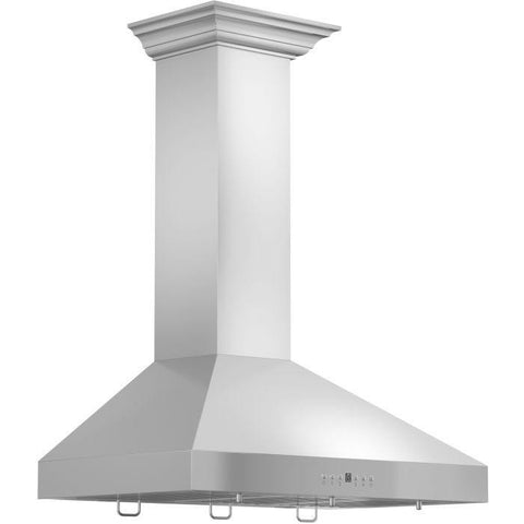 "ZLINE 36"" Stainless Steel Wall Range Hood with Crown Molding (KL3CRN-36) - Shop For Kitchens"