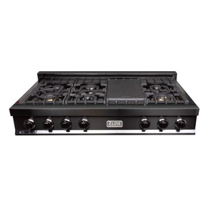 "ZLINE 48"" Porcelain Rangetop in Black Stainless with 7 Gas Burners (RTB-48) - Shop For Kitchens"