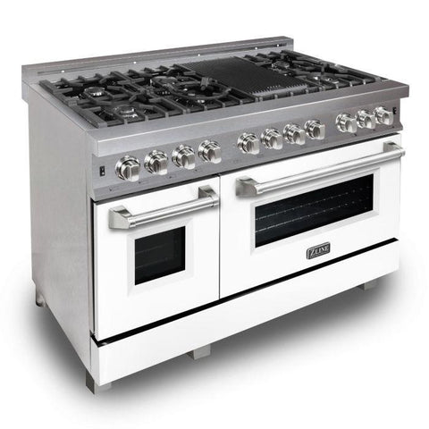 "ZLINE 48"" Professional Dual Fuel Range in DuraSnow® Stainless Steel with White Matte Door (RAS-WM-48) - Shop For Kitchens"