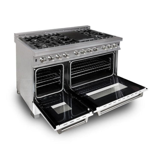 "Image of ZLINE 48"" Professional Dual Fuel Range in DuraSnow® Stainless Steel with White Matte Door (RAS-WM-48) - Shop For Kitchens"