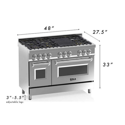 "Image of ZLINE 48"" Professional Dual Fuel Range in Stainless Steel with DuraSnow® Finish Door (RA-SN-48) - Shop For Kitchens"