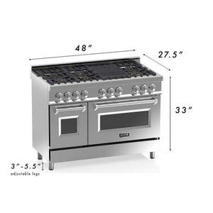 "ZLINE 48"" Professional Dual Fuel Range in Stainless Steel with DuraSnow® Finish Door (RA-SN-48) - Shop For Kitchens"