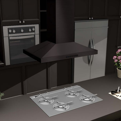 "Image of ZLINE 30"" Island Range Hood in Black Stainless Steel (BSGL2iN-30) - Shop For Kitchens"