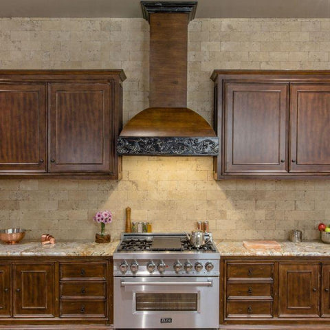 ZLINE 36 in. Wooden Wall Mount Range Hood in Antigua and Walnut - Includes 400 CFM Remote Motor - Shop For Kitchens