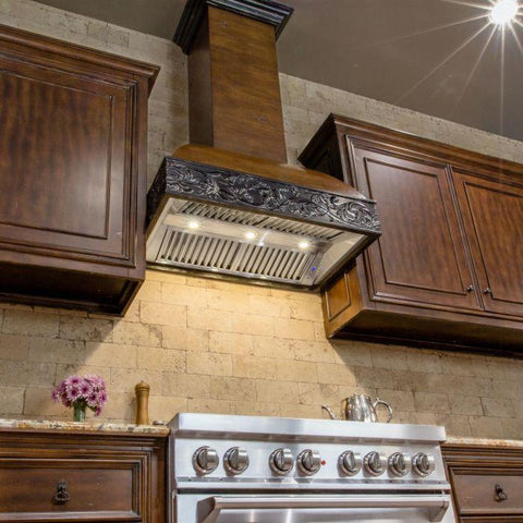 ZLINE 36 in. Wooden Wall Mount Range Hood in Antigua and Walnut - Includes 1200 CFM Remote Motor (393AR-RD-36) - Shop For Kitchens