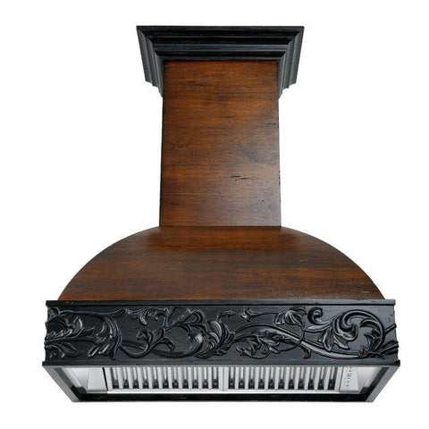 Image of ZLINE 48 in. Wooden Wall Mount Range Hood in Antigua and Walnut - Includes 400 CFM Remote Motor - Shop For Kitchens