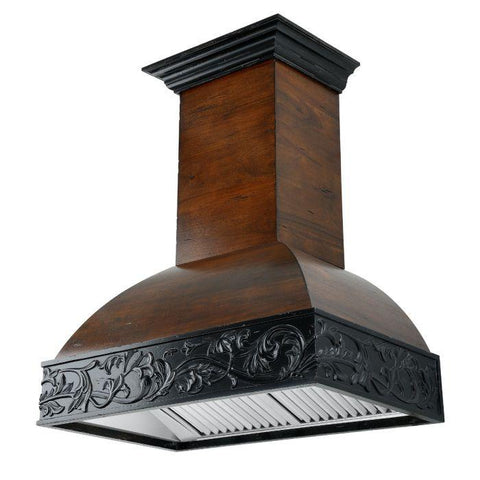 Image of ZLINE 30 in. Wooden Wall Mount Range Hood in Antigua and Walnut with 1200 CFM Remote Motor (393AR-RD-30) - Shop For Kitchens