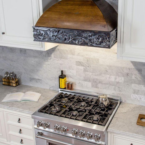 Image of ZLINE 42 in. Wooden Wall Mount Range Hood in Antigua and Walnut - Includes 1200 CFM Remote Motor - Shop For Kitchens