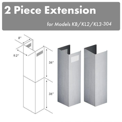 ZLINE Extension Kit for 10 ft. to 12 ft. Ceilings (2PCEXT-KB/KL2/KL3-304) - Shop For Kitchens