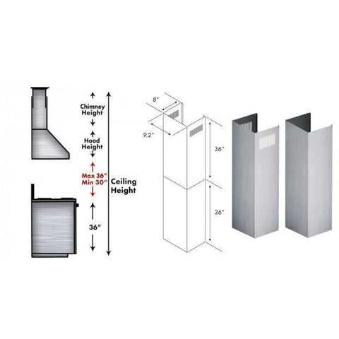 Image of ZLINE Extension Kit for 10 ft. to 12 ft. Ceilings (2PCEXT-KB/KL2/KL3) - Shop For Kitchens