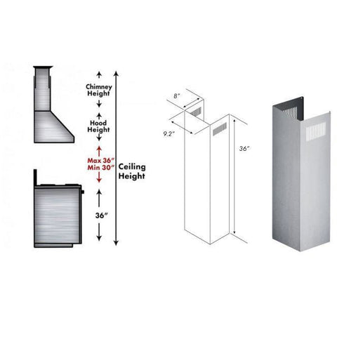 Image of ZLINE Extension Kit for 9 ft. to 10 ft. Ceilings (1PCEXT-KB/KL2/KL3-304) - Shop For Kitchens