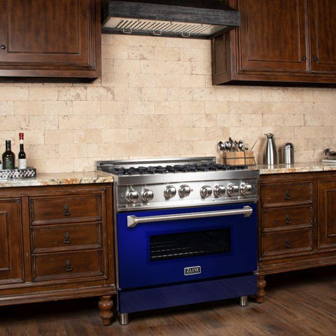 ZLINE 36 in. Professional Gas on Gas Range in Stainless Steel with Blue Gloss Door (RG-BG-36)