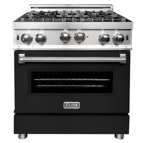 ZLINE 30 in. Professional Gas on Gas Range in Stainless Steel with Black Matte Door (RG-BLM-30)