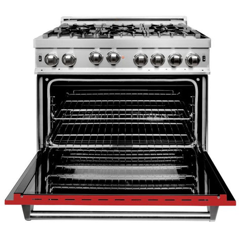ZLINE 36 in. Professional Gas on Gas Range in Stainless Steel with Red Gloss Door (RG-RM-36)