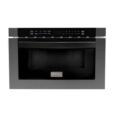 "ZLINE 24"" 1.2 cu. ft. Microwave Drawer in Black Stainless Steel (MWD-1-BS) - Shop For Kitchens"
