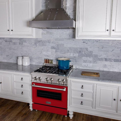 "Image of ZLINE Professional 30"" Dual Fuel Range with Red Matte Door (RA-RM-30) - Shop For Kitchens"