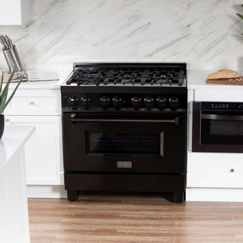 "ZLINE Professional 36"" 4.6 cu. ft. Dual Fuel Range with 6 Gas Burners and Electric Convection Oven in Black Stainless Steel (RAB-36) - Shop For Kitchens"