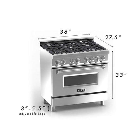 "Image of ZLINE Professional 36"" 4.6 cu. ft. Dual Fuel Range with 6 Gas Burners and Electric Convection Oven in Stainless Steel (RA-36) - Shop For Kitchens"
