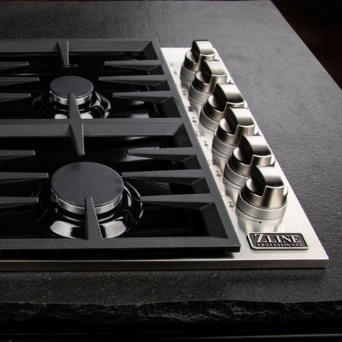 "ZLINE Professional 36"" Black Porcelain Dropin Cooktop with 6 gas burners (RC36-PBT) - Shop For Kitchens"