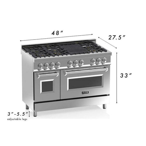 "ZLINE Professional 48"" 6 cu. ft. Gas Range with 7 Gas Burners and Electric Convection Oven in Stainless Steel (RA-48) - Shop For Kitchens"