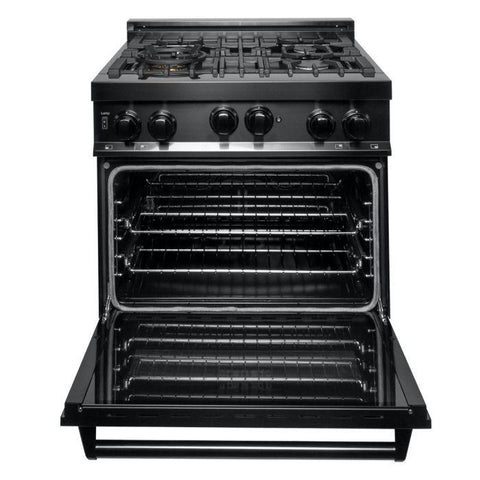 Image of ZLINE Professional 30 inch Gas Range with Gas Convection Oven in Black Stainless Steel (RGB-30) - Shop For Kitchens