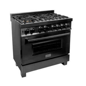 ZLINE Professional 36 inch Gas Range with Gas Convection Oven in Black Stainless Steel (RGB-36) - Shop For Kitchens