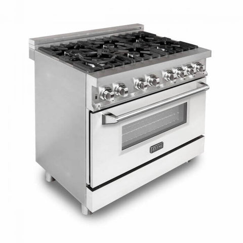 "Image of ZLINE 36"" Professional Dual Fuel Range in Stainless Steel with White Matte Door (RA-WM-36) - Shop For Kitchens"