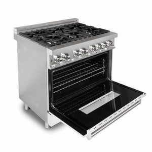 "ZLINE 36"" Professional Dual Fuel Range in Stainless Steel with White Matte Door (RA-WM-36) - Shop For Kitchens"