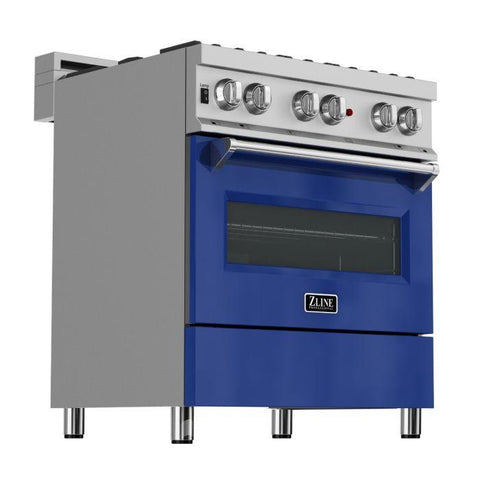 ZLINE 30 in. Professional Dual Fuel Range in Snow Stainless with Blue Gloss Door (RAS-BG-30) - Shop For Kitchens