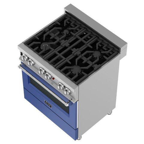 ZLINE 30 in. Professional Dual Fuel Range in Snow Stainless with Blue Matte Door (RAS-BM-30) - Shop For Kitchens