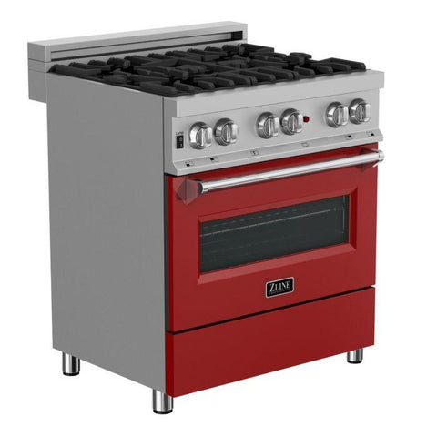 ZLINE 30 in. Professional Dual Fuel Range in Snow Stainless with Red Gloss Door (RAS-RG-30) - Shop For Kitchens