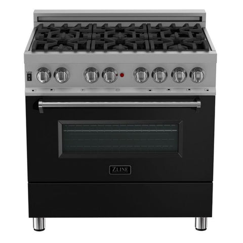 ZLINE 36 in. Professional Dual Fuel Range in Snow Stainless with Black Matte Door (RAS-BLM-36) - Shop For Kitchens