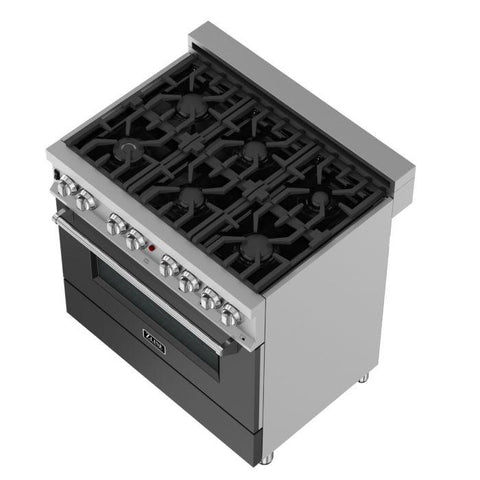 Image of ZLINE 36 in. Professional Dual Fuel Range in Snow Stainless with Black Matte Door (RAS-BLM-36)