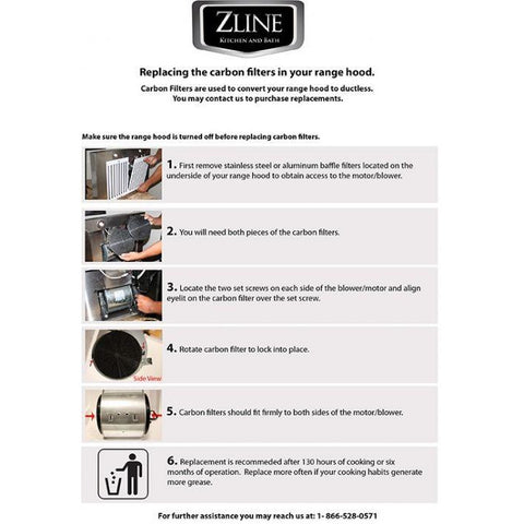 ZLINE Set of Charcoal Filters for Range Hoods w/ Recirculating Option (CF1) - Shop For Kitchens
