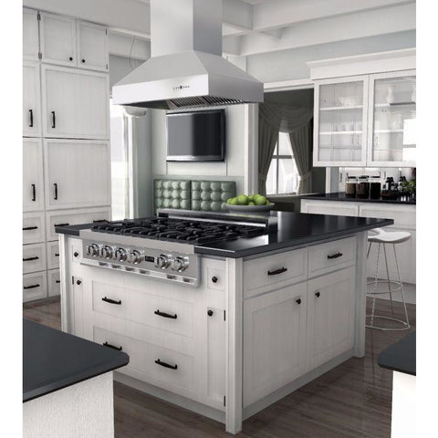 Image of ZLINE 48 in. 1200 CFM Island Mount Range Hood in Stainless Steel (697i-48) - Shop For Kitchens