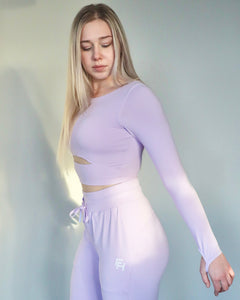 FLEX CROPPED LONG SLEEVE- Lavender