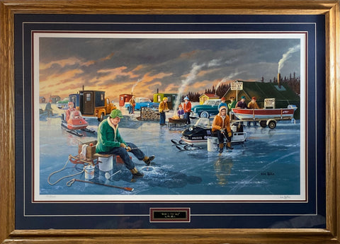 Ken Zylla Back in the Day Snowmobile Ice Fishing Art Print-Framed