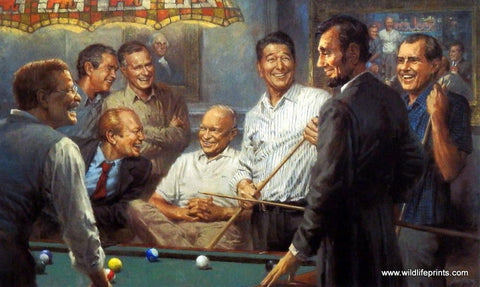 Andy Thomas Callin' The Blue Signed  Republican Presidents playing Pool (Paper Size 19 x 13 Image Size 17 x 11)