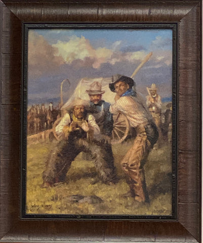 Andy Thomas Cowboys Playing Baseball Framed Art Print 14.5 x 17.75