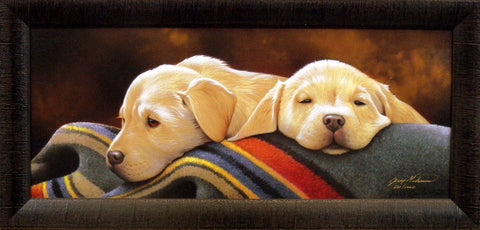 Jerry Gadamus Pendleton Pups-Yellow Labs-FRAMED