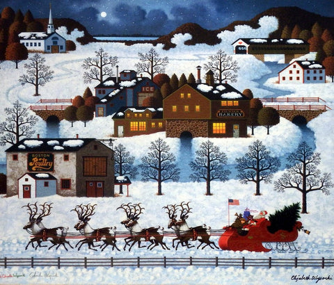 Charles Wysocki Santa's Coming to Town-Canvas