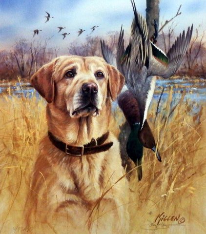 James Killen Faithful Friends-Yellow Lab Print