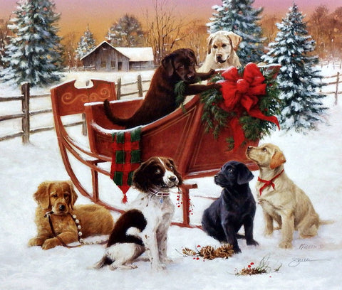 James Killen Christmas Sleigh Puppy Print-Signed 16.5 x 14