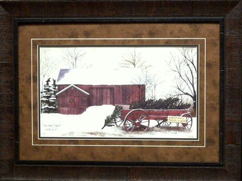 Billy Jacobs Christmas Wagon Farm Print-Framed