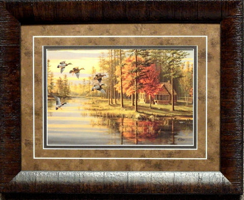 Mary Pettis Autumn Glow Mallard Duck Print Framed
