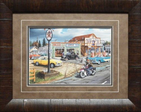 Ken Zylla Crossroads Motorcycle Art Print-Framed 19 x 15