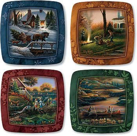 Terry Redlin Family Through the Seasons mini square plates