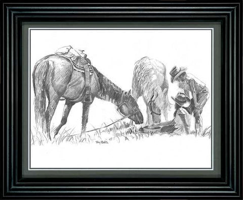 Terry Redlin ''Cowboy'' Pencil Sketch-Framed  11.5'' x 9.5''